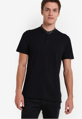 UniqTee black Polo Shirt With Mandarin Collar UN097AA36BNFMY_1