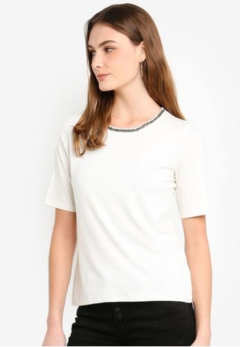 ESPRIT white Bead Short Sleeve T-Shirt 029C3AACAE8040GS_1