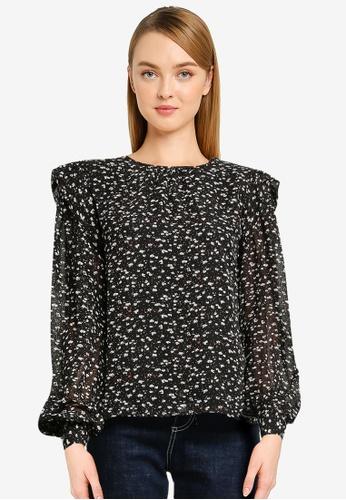 Vero Moda black Perla Long Sleeve Detail Top 70AAFAA0A87636GS_1