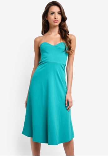 MISSGUIDED green Teal Sweetheart Bandeau Midi Skater Dress 5046DAA58E185FGS_1