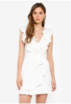 e3e8e958eb INDIKAH white Ruffle Asymmetrical Hem Dress 5133EAAF1F26EFGS 1