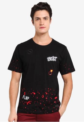 Flesh IMP black Beat Patches T-Shirt 1C7F7AA06A58DDGS_1