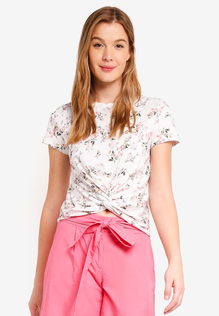 Forever New Whitney Tee Crop Porcelain Print Meadow Front Twist URUrg7T