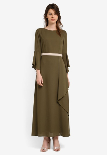 Zalia green Contrast Waistband Maxi Dress 715A3AA6FAFD62GS_1