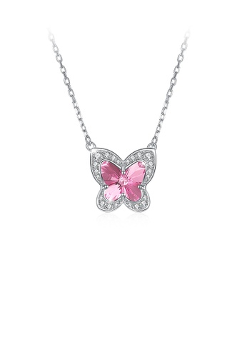Glamorousky pink 925 Sterling Silver Pink Butterfly Necklace with Austrian Element Crystal B6E8FAC2436B2FGS_1