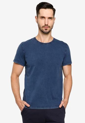 BLEND blue Rib Trim Collar T-Shirt DC943AA90D3373GS_1