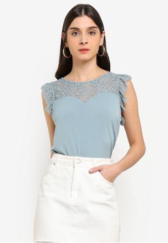 Vero Moda blue Alberta Sweetheart Lace Top 477BCAA7CEE8FCGS_1
