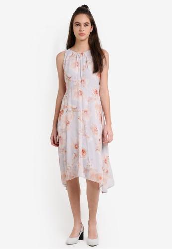 Wallis grey Petite Grey Floral Print Fit & Flare Dress WA800AA0RF38MY_1