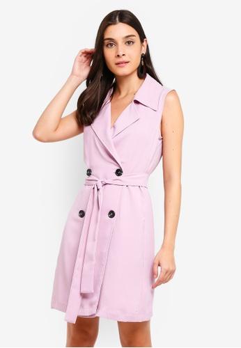ZALORA 紫色 Sleeveless Double Breasted Dress 407A5AACB9238DGS_1