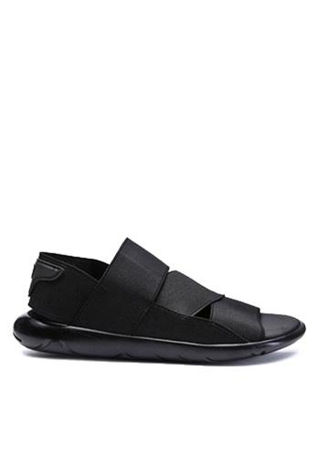 Twenty Eight Shoes 黑色 彈力織帶獨特鞋底涼鞋 VMS676 DEBD5SHDB09F54GS_1