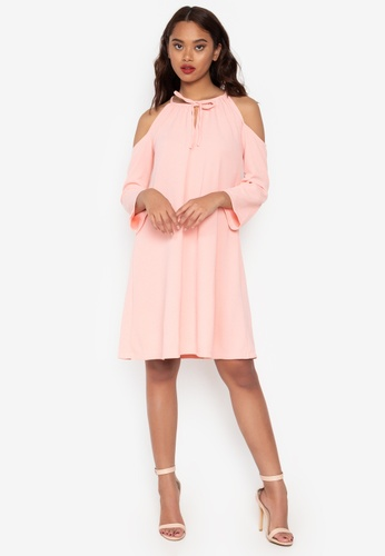 6e54903c4b Ashley Collection pink Cold Shoulder Quarter Sleeves Shift Dress  0BDDEAA37C0047GS 1