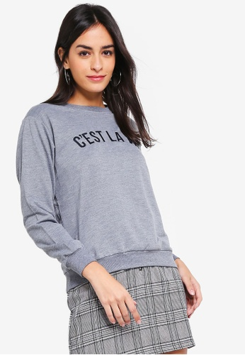 ZALORA grey Sweatshirt With Message 04937AA5482A5CGS_1