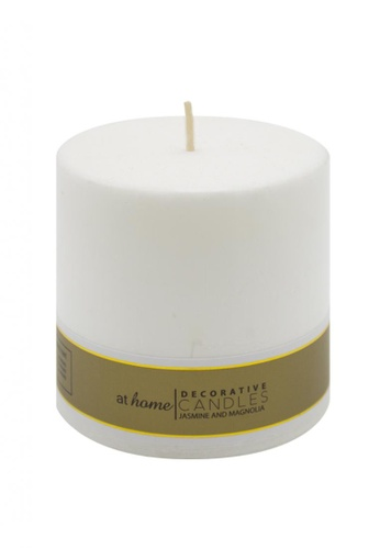 At Home white Jasmine & Magnolia Scented Pillar Candle 3x3 B8651HLEF1F227GS_1