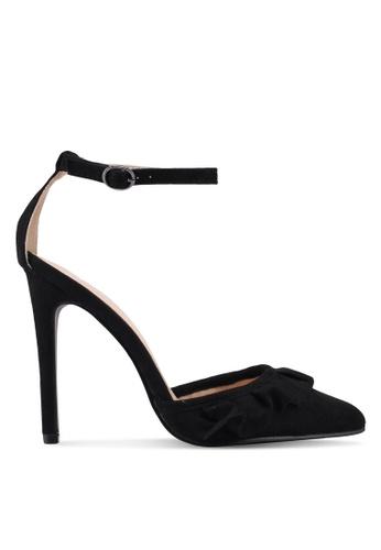 Public Desire 黑色 荷葉飾麂皮尖頭高跟鞋 E03EBSHA88A418GS_1