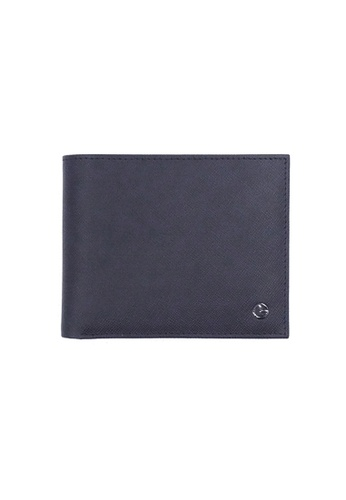Goldlion blue Goldlion Men Leather Wallet (4 Cards Slot, Coin Pouch) - Black with Inner Gray AEC55AC95C5556GS_1