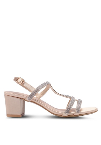 Mimosa gold Embellished Kitten Sandal Heels 3D0D6SH58AD05EGS_1