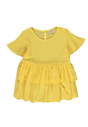 LC Waikiki yellow Girl's Ruffle Viscose Blouse EAF67KAEADEBBCGS_1