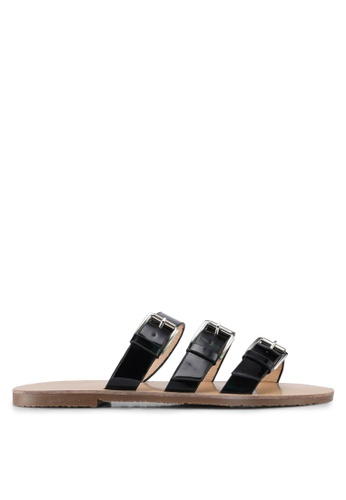 Something Borrowed black Sandals With Buckle Strap 3186ESH96B6FE8GS_1