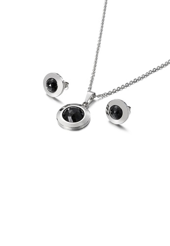 Glamorousky black Simple Temperament Geometric Round 316L Stainless Steel Necklace and Stud Earrings Set with Black Cubic Zirconia B5846ACD00771CGS_1