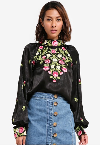 bfa4227cdfac2c Shop Free People High Neck Embroidered Top Online on ZALORA Philippines