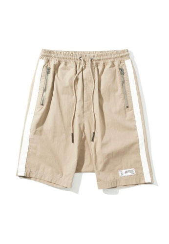 MUSIUM DIV beige Side tape pocket zip shorts 8DD16AA317CB24GS_1
