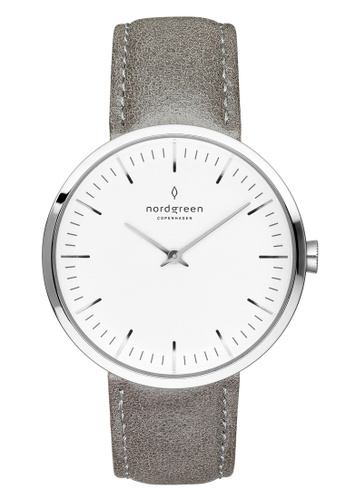 Nordgreen grey and silver Nordgreen Infinity Silver 40 mm - Grey Leather Watch B6F26AC7C8B0DFGS_1
