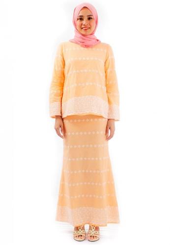 KAMDAR orange Serabella Cotton Embroidery Kurung Modern-Orange CAF1AAAB02AA63GS_1