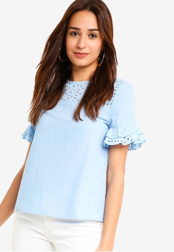 ZALORA blue Embroidered Flare Sleeves Blouse 2DD07AA6AB21EDGS_1