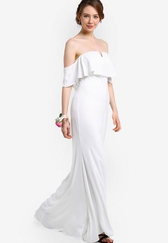ZALORA white Bridesmaid Off Shoulder Maxi Dress with Ruffle 7EA74AA90009E6GS_1