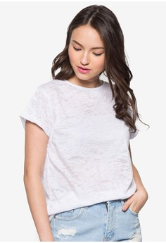 Rolled Up Sleeve T-Shirt Top