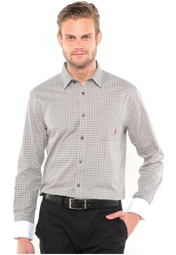 POLO HAUS multi Polo Haus Long Sleeve Shirt (Grey/White) PO783AA77BIWMY_1