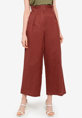 PIMKIE brown Button Front Wide Leg Pants F1B41AAC493377GS_1