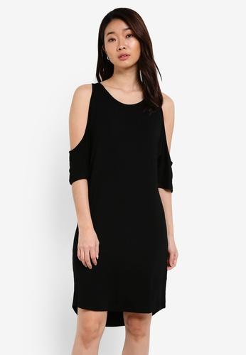 ZALORA black Basic Cold Shoulder Dress With Curved Hem 85028ZZF301060GS_1