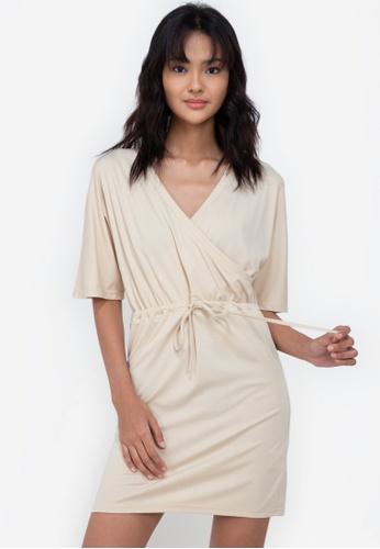 ZALORA BASICS beige Jersey Wrap Drawstring Dress 24A93AA8363A27GS_1