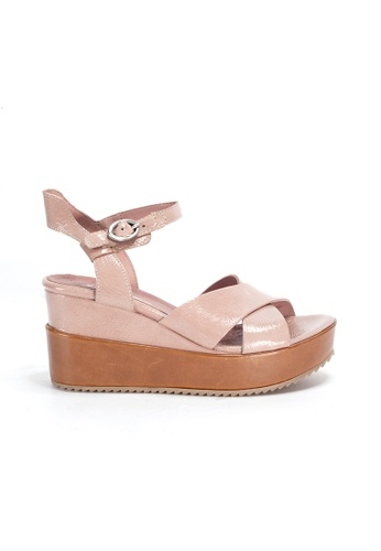 Shu Talk pink Vintage Hot Patent Wedge Platform Shoes with Ankle Straps B6701SHE0CFEA5GS_1