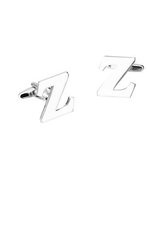 Glamorousky silver Simple Personality English Alphabet Z Cufflinks 02C45ACA25304CGS_1