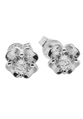 Elfi silver Elfi 925 Genuine Sterling Silver Diamond Clover Earrings SE50 EL186AC92HALMY_1