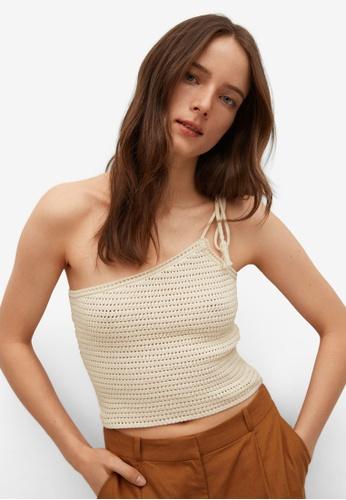 Mango beige Openwork Knit Cotton Top 7D61EAA731DB95GS_1