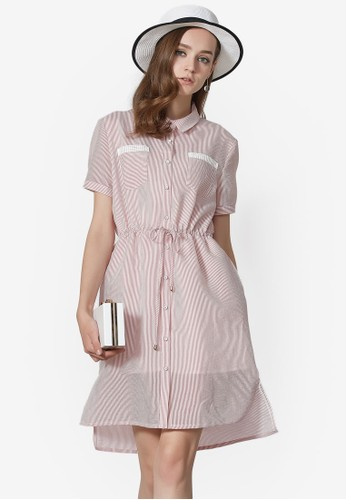 Hopeshow pink Double Layered Shirt Dress F0C98AAE78EE72GS_1