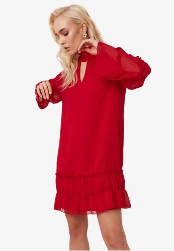 Trendyol red Shirred Collar Ruffle Detail Dress D624CAAAF10344GS_1