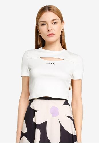 Urban Revivo 白色 休閒T-襯衫 5D3A9AABD492BEGS_1