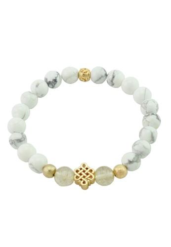 Memento Collection white Ladies Howlite Bracelet with Rutilated Quartz & Gold Foil ME060AC0S3JTMY_1