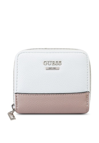 Guess white and multi Sandrine Small Zip Around Wallet 3315FAC9269E6EGS_1