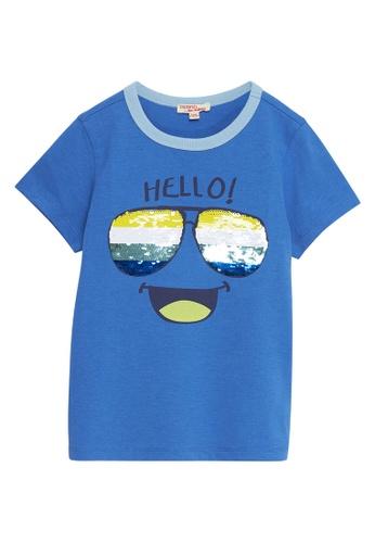 Du Pareil Au Même (DPAM) blue Hello T-Shirt A909DKA92B2F44GS_1