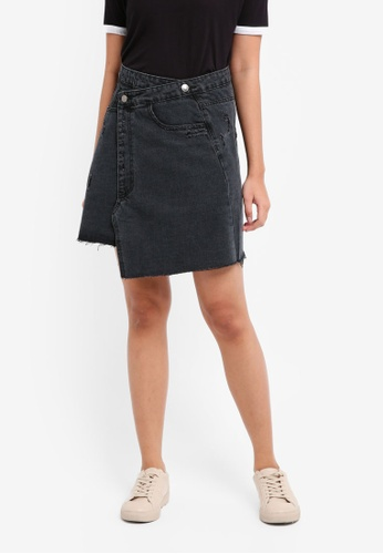 Something Borrowed grey Deconstructed Denim Mini Skirt A713EAA325E7D3GS_1