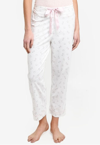 6IXTY8IGHT white Bunny Print Lounge Pants 51001AA1A08070GS_1