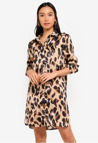 MISSGUIDED brown Leopard Print Satin Shirt Dress B9310AAFC2BDF2GS_1