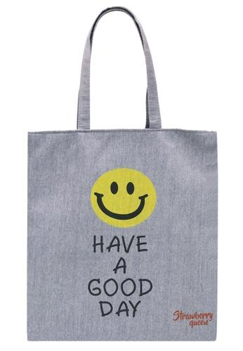 STRAWBERRY QUEEN grey Zipper Canvas Tote Bag (Grey Y) 8BB6BACA77D5D8GS_1