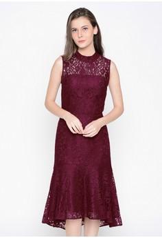 harga A&D Ladies Long Dress Brokat Ms 989 - Maroon Zalora.co.id