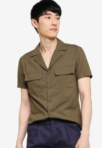 ZALORA BASICS 綠色 Pocket Front Short Sleeve Shirt 1EA40AA1287A75GS_1